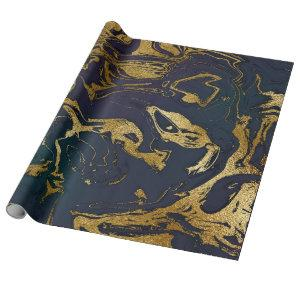 Deep Earth Gold Marble Deep Green Blue Wrapping Paper