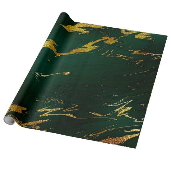 Deep Earth Gold Marble Green Woodland Wrapping Paper