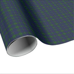 Deep Forest Plaid Navy Blue and Forest Green Wrapping Paper