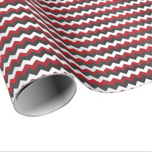 Deep Red, Black and White Chevron Wrapping Paper