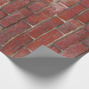 Deep Red Brick Wall Pattern Wrapping Paper