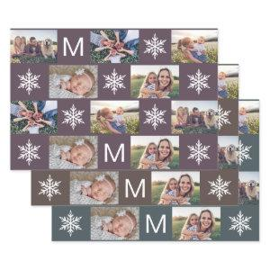 Deep Winter Snowflakes Monogram Photo Collage Wrapping Paper Sheets