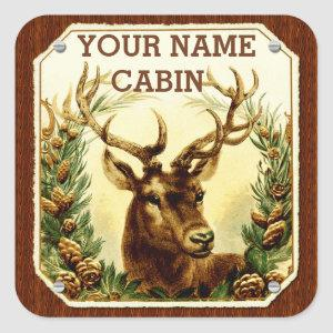 Deer Cabin Personalized with Wood Grain Square Sticker