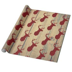 Deer Head with Antlers on Faux Wood Wrapping Paper