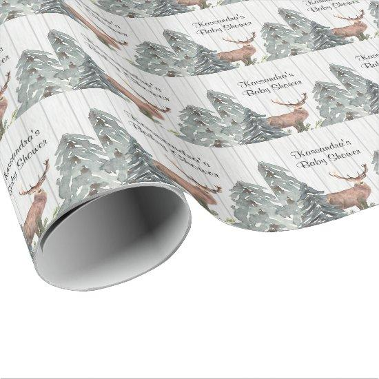 Deer In Between Evergreens Baby Shower Wrapping Paper