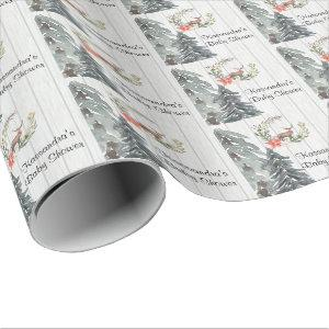 Deer In Winter Greenery Baby Shower Wrapping Paper