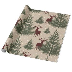 Deer Pine Tree Holiday Christmas  Wapping Paper