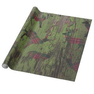 Deer Plaid Rustic Green Holiday Wrapping Paper