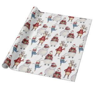Deer Snowman Rabbit Bear Christmas Holiday Gift Wrapping Paper