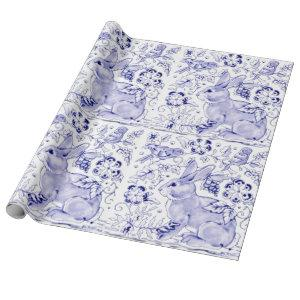 Delft Blue White Bunny Rabbit Birds Dedham Easter Wrapping Paper