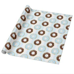Delicious Donuts Blue Stripes Wrapping Paper