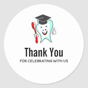 Dental Care Happy Tooth Graduation Cap Thank You Classic Round Sticker