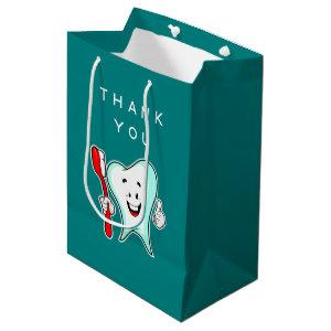 Dental Care Happy Tooth with Toothbrush Thank You Medium Gift Bag