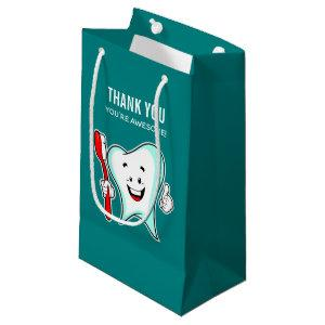 Dental Care Happy Tooth with Toothbrush Thank You Small Gift Bag