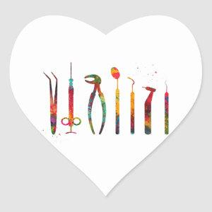 Dentist Tools Heart Sticker