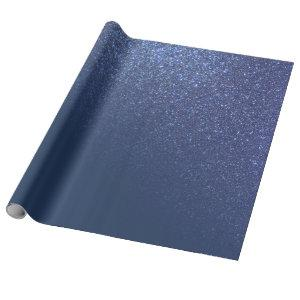 Diagonal Sparkly Navy Blue Glitter Gradient Ombre Wrapping Paper
