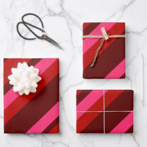 Diagonal Valentine Stripes Wrapping Paper Sheets