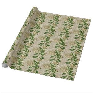 dictionary french country botanical white rose wrapping paper