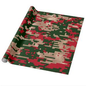 Digital Christmas Camouflage Wrapping Paper
