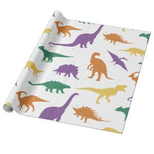Dino dinosaur multicolored of children wrapping paper