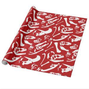 Dinosaur Bones (Red) Wrapping Paper
