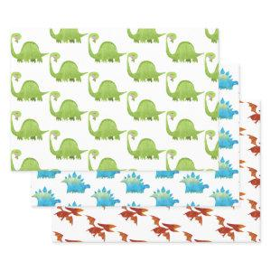 Dinosaur Boy Dino Trex Birthday Baby Shower Wrapping Paper Sheets