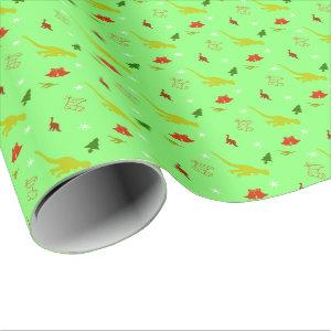Dinosaur Christmas Holiday Gift Wrapping Paper