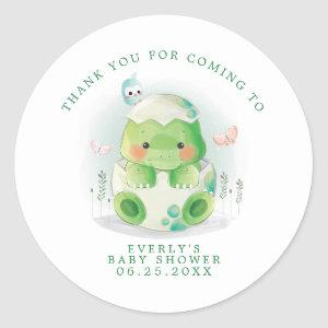 Dinosaur Egg Watercolor Baby Shower Thank You Classic Round Sticker