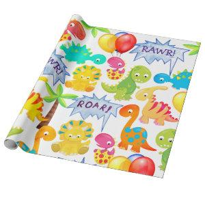 Dinosaur Party Balloons Customizable Rawr Wrapping Paper