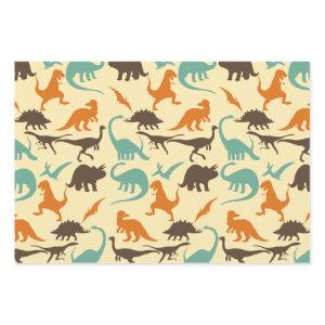 Dinosaur Pattern Silhouette Wrapping Paper Sheets