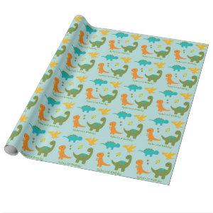 Dinosaur Personalized Wrapping Paper