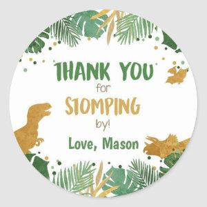 Dinosaur Thank You Stomping By Boy Birthday Classic Round Sticker