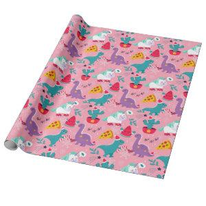 Dinosaurs And Unicorns Christmas Pattern Wrapping Paper