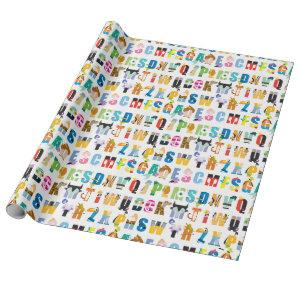 Disney Alphabet Mania Pattern Wrapping Paper