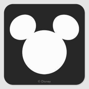 Disney Logo | White Mickey Icon Square Sticker