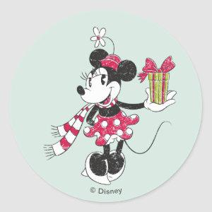 Disney | Mickey & Minnie | Holiday Stripes Pattern Classic Round Sticker
