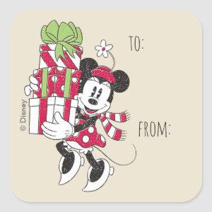 Disney | Vintage Minnie Delivering Holiday Cheer Square Sticker