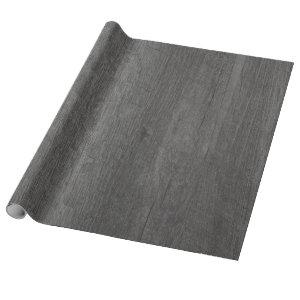 Distressed Country Dark Grey Antique Wood Grain Wrapping Paper