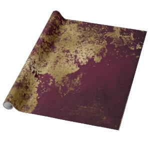 Distressed Gold Burgundy Red Rust Wrap Wrapping Paper