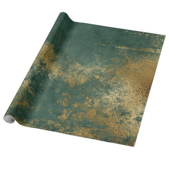 Distressed Gold Emerald Deep Green Wrap Wrapping Paper