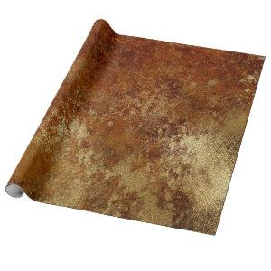 Distressed Gold Red Orange Rust Wrap Wrapping Paper