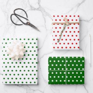 Distressed Green Red White Polkadots White Green Wrapping Paper Sheets