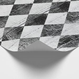Distressed Harlequin Black and White Diamond Wrapping Paper
