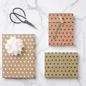 Distressed White Red Green Polkadots Kraft Colored Wrapping Paper Sheets