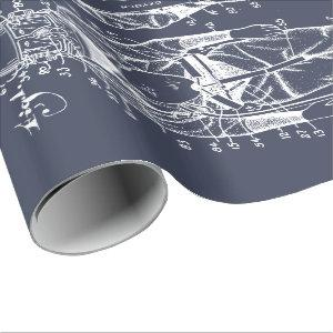 Diver Down! Blueprint Wrapping Paper