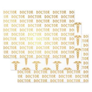 Doctor Caduceus Medical Symbol Gold Foil Wrapping Paper Sheets
