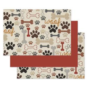 Dog Bones and Paw Prints Wrapping Paper Sheets