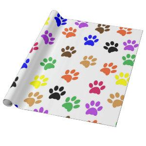 Dog Paw Print color Pattern Wrapping Paper