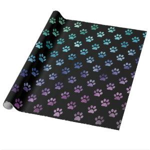 Dog Paw Print Green Blue Purple Rainbow Black Wrapping Paper