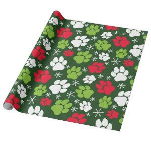 Dog Paw Prints and Snowflakes Red Green Christmas Wrapping Paper